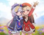 2girls ahoge arm_up backpack bag bangs bead_necklace beads blonde_hair blurry blurry_background blush braid closed_mouth dress feathers genshin_impact hair_ornament hat hat_feather heart highres jewelry klee_(genshin_impact) long_hair long_sleeves low_twintails lunia multiple_girls necklace open_mouth pointy_ears purple_hair purple_headwear qing_guanmao qiqi_(genshin_impact) red_dress red_headwear shorts single_braid twintails work_in_progress