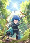 1boy abs asymmetrical_bangs asymmetrical_clothes bangs belt blue_hair bodysuit_under_clothes bracelet braid braided_ponytail capelet child closed_mouth cu_chulainn_(fate)_(all) dagger earrings fate/grand_order fate/grand_order_arcade fate_(series) floating_hair forest grin highres holding holding_dagger holding_weapon hood hood_up hooded_capelet jewelry long_hair looking_at_viewer male_focus muscular muscular_male nature one_knee outdoors pectorals ponytail puffy_pants red_eyes sandals setanta_(fate) smile solo spiky_hair staff sun sunlight takahasu_kaoru toeless_footwear tree weapon