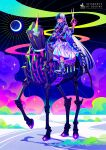 absurdres asymmetrical_hair black_hair clouds cloudy_sky collar dress heterochromia highres horns horse long_hair looking_at_viewer moon mrmeinn original riding scissors shoes single_horn skeleton_horse sky sneakers solo sparkle unicorn very_long_hair white_hair