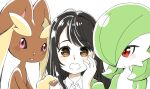 3girls :3 animal_ears bangs black_hair blush bob_cut body_fur brown_fur buttons closed_mouth collared_shirt colored_skin commentary_request eyebrows_visible_through_hair flat_chest furry gardevoir gen_3_pokemon gen_4_pokemon green_hair green_skin hair_over_one_eye hand_on_another's_shoulder hand_on_own_cheek hand_on_own_face hand_up interspecies long_hair looking_at_another looking_at_viewer looking_to_the_side lopunny muguet multicolored multicolored_skin multiple_girls open_mouth original pink_eyes pokemon pokemon_(creature) rabbit_ears rabbit_girl red_eyes shiny shiny_hair shirt short_hair sidelocks simple_background smile straight-on swept_bangs two-tone_fur two-tone_skin upper_body white_background white_shirt white_skin yellow_fur yuri