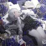 1girl allan_poe bangs benghuai_xueyuan bird birdcage black_cat black_dress black_neckwear blue_flower blue_rose book brooch buttons cage cat checkered checkered_floor commentary crow dress english_commentary feet_out_of_frame flower frilled_dress frills hair_bun high_collar highres honkai_(series) honkai_impact_3rd ink_bottle jewelry long_hair long_sleeves looking_to_the_side lying necktie on_back pantyhose petals pink_eyes quill rose shaded_face shirt shirt_under_dress sidelocks solo striped striped_dress striped_neckwear tatatsu unamused vertical-striped_dress vertical_stripes white_hair white_legwear white_shirt