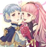 2girls :d bangs bare_shoulders blue_capelet blue_dress blue_hair box braid brown_eyes capelet commentary_request crown_braid dress earrings fire_emblem fire_emblem:_three_houses flower gloves hair_flower hair_ornament heart heart-shaped_box heart_of_string highres hilda_valentine_goneril holding holding_box hoop_earrings jewelry long_sleeves looking_at_viewer marianne_von_edmund mojakkoro multiple_girls open_mouth pink_eyes pink_flower pink_gloves pink_hair ribbon short_hair smile upper_body white_flower yellow_ribbon