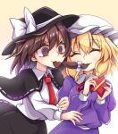 2girls @_@ arms_up black_capelet black_headwear black_skirt blonde_hair breasts brown_eyes brown_hair candy capelet chocolate chocolate_heart closed_eyes cowboy_shot dress dress_shirt eyebrows_visible_through_hair food hair_between_eyes hair_in_mouth hat hat_ribbon heart highres juliet_sleeves keyaki_chimaki long_sleeves looking_at_another maribel_hearn medium_breasts mob_cap mouth_hold multiple_girls puffy_sleeves purple_dress red_neckwear ribbon shirt short_hair simple_background single_sidelock skirt smile standing star-shaped_box touhou usami_renko valentine violet_eyes white_headwear white_shirt yellow_background