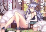1girl ahoge animal armpits ass bare_legs bare_shoulders bell black_choker blue_eyes breasts choker cuffs curled_horns curly_hair dress elbow_gloves fish fishbowl gloves highres holding horns kiseru knees_up long_hair looking_at_viewer one_eye_closed original panties pipe reclining ryuinu sheep sheep_girl sheep_horns short_dress side-tie_panties side_slit silver_hair small_breasts smile solo string_panties thighs underwear white_gloves white_panties