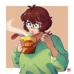 1girl artist_name bangs blowing brown_eyes brown_hair chopsticks cup dated english_commentary eyebrows_visible_through_hair glasses green_sweater highres holding holding_chopsticks holding_cup looking_down original ramen short_hair snowcie snowciel solo sweater thick_lips