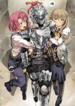 1boy 2girls absurdres ahoge arm_grab arm_hug armor armored_boots blonde_hair boots braid breastplate brown_hair buckler cow_girl_(goblin_slayer!) full_armor garimpeiro gauntlets gloves goblin goblin_slayer goblin_slayer! guild_girl_(goblin_slayer!) hair_over_shoulder helm helmet highres knight medium_hair multiple_girls overalls pink_eyes pink_hair shield shoulder_armor single_braid