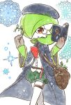 1girl bag bangs beret berry black_coat black_headwear bob_cut book brown_gloves buttons clothed_pokemon coat colored_skin commentary_request diamond_(shape) flat_chest gardevoir gen_3_pokemon gloves green_hair green_shorts green_skin hair_over_one_eye hands_up hat holding holding_book long_sleeves mage monocle muguet multicolored multicolored_skin open_book open_clothes open_coat open_mouth pocket pokemon pokemon_(creature) puffy_shorts reading red_eyes shirt short_hair short_shorts shorts shoulder_bag sideways_mouth solo sparkle star_(symbol) test_tube thigh_strap two-tone_skin walking white_background white_shirt white_skin wide_sleeves