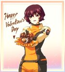 1girl bow brown_hair chocolate food gundam gundam_seed happy_valentine head_tilt highres holding holding_chocolate holding_food ishiyumi looking_at_viewer mobile_armor moebius_(gundam_seed) open_mouth pilot_suit red_bow short_hair smile solo