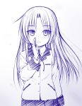1girl angel_beats! bangs blazer blush brooch collared_shirt commentary_request eyebrows_visible_through_hair gradient gradient_background grey_background hand_to_own_mouth hand_up haryuu_(poetto) highres jacket jewelry long_hair long_sleeves looking_at_viewer neck_ribbon parted_bangs parted_lips pleated_skirt ribbon school_uniform shirt skirt solo tenshi_(angel_beats!) very_long_hair white_background