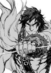 1boy abs bangs chest_harness fate/grand_order fate_(series) feather_boa frown greyscale harness kyo-ani_love looking_at_viewer male_focus messy_hair monochrome muscular muscular_male orion_(super_archer)_(fate) serious short_hair sketch solo stomach thick_eyebrows upper_body white_background