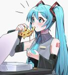 1girl absurdres aqua_eyes aqua_hair aqua_nails aqua_neckwear arm_tattoo blush cheese cheese_trail detached_sleeves dripping eating english_commentary fingernails food food_on_face hatsune_miku headphones highres holding holding_food holding_pizza kumaartsu long_hair messy necktie pepperoni pizza pizza_box pizza_slice solo sweatdrop tattoo twintails upper_body very_long_hair vocaloid wide_sleeves