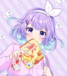 1girl artist_name bag_of_chips bangs blue_eyes blue_hair blush bow bow_hairband breast_pocket buttons chips colored_inner_hair commentary_request controller dot_nose drink food hair_ornament hairband hairclip highres holding holding_drink juice_box long_sleeves looking_at_viewer medium_hair mouth_hold mugimugigo multicolored_hair multiple_sources nijisanji nijisanji_kr nun_bora outline pink_shirt pocket potato_chips purple_hair purple_theme shiny shiny_hair shirt snowflakes solo striped striped_background twitter_username two-tone_hair virtual_youtuber white_bow white_hairband