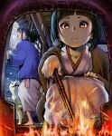 animal bangs barefoot black_eyes black_hair breath closed_eyes collarbone dog fire fireplace gesogeso highres holding holding_stick japanese_clothes kimono long_hair looking_at_viewer open_door open_mouth original pov sliding_doors snow snowing sparks squatting steam stick tied_hair yellow_eyes