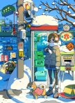 1girl blue_sky boots brown_coat brown_hair cat coat dog earmuffs gloves grey_footwear ground_vehicle highres leash long_sleeves original outdoors road shadow shiba_inu short_sleeves sign sky snow solo standing tao_(tao15102) tree watch watch white_gloves wide_shot