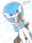 1girl armor bangs blue_hair blue_skin blue_skirt bob_cut breastplate brown_gloves buttons clothed_pokemon clouds collared_shirt colored_skin commentary_request diamond_(shape) dutch_angle gardevoir gen_3_pokemon gloves hair_between_eyes hand_on_own_cheek hand_on_own_face hand_up health_bar knees_together_feet_apart looking_at_viewer miniskirt muguet multicolored multicolored_skin open_mouth orange_eyes outdoors pencil_skirt pokemon pokemon_(creature) puffy_short_sleeves puffy_sleeves sheath sheathed shirt short_hair short_sleeves simple_background sitting skirt solo sparkle speech_bubble straight-on sword two-tone_skin weapon white_background white_shirt white_skin