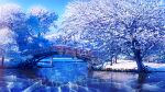 1girl architecture black_hair blue_sky bridge bush commentary_request crack day east_asian_architecture fantasy hakama highres ice japanese_clothes kimono landscape miko original outdoors ponytail railing reflection scenery sky smile_(qd4nsvik) snow solo standing tree water winter