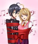 1boy 1girl ahoge akamatsu_kaede arms_behind_back bangs black_hair black_shirt blonde_hair blush bound collared_shirt couple cute danganronpa danganronpa_v3:_killing_harmony deviantart happy musical_note musical_note_hair_ornament necktie pink_eyes purple_eyes red_ribbon restrained ribbon ribbons saihara_shuuichi school_uniform simple_background sincity2100 skirt tied_up vest white_shirt yellow_eyes