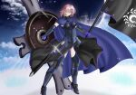 1girl absurdres armor armored_boots armored_dress boots breasts chaldea_logo cosplay fate/apocrypha fate/extra fate/extra_ccc fate/grand_order fate/stay_night fate/zero fate_(series) highres huge_filesize large_breasts mash_kyrielight mash_kyrielight_(cosplay) pink_hair shield short_hair smile solo