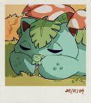 2004 age_progression bulbasaur closed_eyes doll_hug flower gen_1_pokemon highres holding leaf no_humans pokemon pokemon_(creature) signature teletelo venusaur