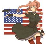1girl aircraft aircraft_request airplane american_flag anchor black_dress black_gloves breast_pocket brown_hair choker commentary_request cowboy_shot dress fingerless_gloves flag_background gloves grey_eyes hair_between_eyes hair_ornament highres kantai_collection pocket ponytail red_legwear remodel_(kantai_collection) saratoga_(kancolle) side_ponytail sidelocks smokestack smokestack_hair_ornament solo sukekiyo_(skky_0) thigh-highs white_background