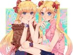 2girls aino_minako bishoujo_senshi_sailor_moon blonde_hair casual cellphone closed_mouth emuru_(mushroom379) head_rest highres holding holding_phone looking_at_viewer multiple_girls phone smartphone tsukino_usagi