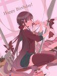 1girl bangs bow brown_hair cake cake_slice candy chocolate commentary_request danganronpa_(series) danganronpa_v3:_killing_harmony dutch_angle eyebrows_visible_through_hair food fork fruit hair_ornament hairclip hands_up happy_birthday harukawa_maki highres holding holding_food knife long_hair long_sleeves looking_at_viewer low_twintails mole mole_under_eye open_mouth oversized_food oversized_object plaid plaid_skirt plate pleated_skirt red_bow red_eyes red_legwear red_nails red_scrunchie red_shirt school_uniform scrunchie seiza shirt sitting skirt solo strawberry striped striped_bow thigh-highs twintails very_long_hair yoshi_taka_(y_04taka) zettai_ryouiki