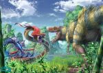 bamboo blue_sky clouds commentary_request day dinosaur dinosaur_request feathered_dinosaur feathers full_body grass highres monster mountain no_humans open_mouth original outdoors scales sky snake stinger teeth tree water wet yatsukahagi