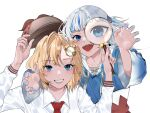 2girls bangs blonde_hair blue_hair blue_nails claw_pose collared_shirt deerstalker eyebrows_visible_through_hair gawr_gura hair_behind_ear hair_ornament hat hievasp highres holding holding_clothes holding_hat holding_magnifying_glass hololive hololive_english monocle_hair_ornament multicolored_hair multiple_girls open_hands open_mouth red_neckwear sharp_teeth shirt silver_hair smile streaked_hair teeth two_side_up v-shaped_eyebrows virtual_youtuber watson_amelia white_shirt
