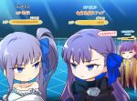 3girls absurdres bangs bare_shoulders bikini blue_eyes blue_ribbon blush breasts chibi choker claw_(weapon) claws closed_eyes coffeekite collarbone crossed_arms earrings fate/extra fate/extra_ccc fate/grand_order fate_(series) frilled_bikini frills gameplay_mechanics hair_ribbon highres jewelry long_hair long_sleeves looking_at_another looking_to_the_side meltryllis_(fate) meltryllis_(swimsuit_lancer)_(fate) multiple_girls off-shoulder_swimsuit off_shoulder passionlip_(fate) pink_ribbon puffy_sleeves purple_hair ribbon side_ponytail sleeves_past_fingers sleeves_past_wrists small_breasts swimsuit translation_request very_long_hair weapon white_bikini