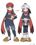 2boys 2girls beanie black_hair chibi dawn_(pokemon) female_protagonist_(pokemon_legends:_arceus) hat head_scarf highres lucas_(pokemon) male_protagonist_(pokemon_legends:_arceus) multiple_boys multiple_girls open_mouth petoke pokemon pokemon_(game) pokemon_bdsp pokemon_legends:_arceus red_headwear red_scarf sandals scarf simple_background smile white_background white_headwear
