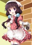 1girl apron bangs black_hair blend_s blunt_bangs buttons coffee coffee_mug collared_shirt cowboy_shot cup eyebrows_visible_through_hair frilled_apron frills gloves head_scarf highres holding holding_cup indoors long_hair low_twintails mug open_mouth pink_shirt pink_skirt puffy_short_sleeves puffy_sleeves ruu_(tksymkw) sakuranomiya_maika shaded_face shirt short_sleeves skirt smile solo standing stile_uniform thigh-highs twintails violet_eyes waist_apron waitress white_apron white_gloves white_headwear white_legwear