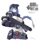 1girl assault_rifle baseball_cap blue_gloves blue_hair braid breasts closed_mouth copyright_request detached_sleeves fingerless_gloves floating_hair gloves grey_eyes gun hat highres holding holding_gun holding_weapon large_breasts long_sleeves pandea_work pouch purple_headwear rifle shirt simple_background single_braid sketch solo sunglasses trigger_discipline weapon white_background white_shirt