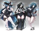 3girls absurdres abyssal_ship barefoot black_legwear blue_eyes blue_hair breasts covered_navel hair_over_one_eye hat highres hood hooded_jacket jacket ka-class_submarine kantai_collection konoshige_(ryuun) large_breasts long_hair looking_at_viewer multiple_girls one-piece_swimsuit single_leg_pantyhose smile so-class_submarine swimsuit thigh-highs torpedo turret very_long_hair white_legwear yo-class_submarine