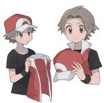 1boy baseball_cap black_shirt black_wristband brown_eyes closed_mouth commentary_request fingernails hat holding holding_clothes holding_hat holding_jacket jacket looking_at_viewer male_focus multiple_views oshi_taberu pokemon pokemon_(game) pokemon_frlg popped_collar red_(pokemon) red_headwear shirt short_hair short_sleeves simple_background sleeveless sleeveless_jacket t-shirt upper_body white_background