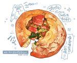 bread food food_focus food_request garnish highres meat momiji_mao no_humans original pastry simple_background still_life translation_request vegetable white_background