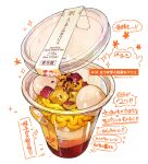 absurdres cup disposable_cup english_text food food_focus food_request highres momiji_mao no_humans noodles original parfait realistic see-through sesame_seeds signature simple_background sparkle still_life translation_request white_background