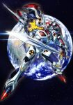dangaioh_hyper_combat_unit dangaiou earth_(planet) glowing glowing_eyes glowing_hand holding holding_sword holding_weapon mecha no_humans oobari_masami open_hand planet science_fiction solo space star_(sky) super_robot sword weapon yellow_eyes