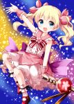 1girl alice_cartelet alternate_costume bangs blonde_hair bow eyebrows_visible_through_hair flower frills hair_ribbon highres kin-iro_mosaic looking_at_viewer medium_hair multicolored multicolored_background multicolored_bow open_mouth petticoat pink_flower pink_ribbon red_bow red_footwear ribbon ruu_(tksymkw) sitting sleeveless smile solo star_(sky) twintails white_bow white_legwear wrist_cuffs
