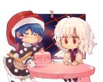 2girls apron beige_jacket black_dress blue_hair blush cake chibi closed_eyes commentary doremy_sweet dream_soul dress eighth_note english_commentary feathered_wings feet_out_of_frame food grey_hair hat highres kabocha1408 kishin_sagume long_sleeves multiple_girls musical_note nightcap oven_mitts pom_pom_(clothes) purple_dress red_eyes red_headwear red_neckwear short_hair single_wing sitting smile socks sweat table tail tapir_tail touhou white_legwear wings