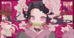 1girl a-k-a-mira alternate_costume alternate_hairstyle bamboo bit_gag black_hair brown_hair checkered_obi earrings embellished_costume floral_print flower forehead gag gradient_hair hair_up haori hibiscus highres japanese_clothes jewelry kamado_nezuko kimetsu_no_yaiba kimono long_hair makeup makeup_brush mouth_hold multicolored_hair pink_background pink_eyes pink_kimono pink_ribbon ribbon ring rose solo tsurime very_long_fingernails wide_sleeves