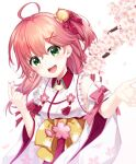 1girl :d ahoge bell cherry_blossoms eyebrows_visible_through_hair floral_print green_eyes hair_bell hair_ornament highres hololive japanese_clothes kimono long_hair looking_at_viewer open_mouth redhead sakura_miko simple_background smile solo takashina_taaa teeth upper_teeth virtual_youtuber white_background white_kimono wide_sleeves x_hair_ornament