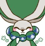 :3 ^_^ animal_focus blush_stickers calyrex closed_eyes closed_mouth commentary_request gen_8_pokemon hand_up happy legendary_pokemon muguet no_humans pokemon pokemon_(creature) simple_background smile solo straight-on triforce upper_body white_background