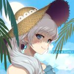 1girl blue_eyes character_name closed_mouth day earrings eyebrows_visible_through_hair hair_over_shoulder hat highres jewelry long_hair outdoors portrait rwby scar scar_across_eye shiny shiny_hair signature silver_hair smile solo straw_hat sun_hat uyalago weiss_schnee
