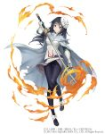 1girl black_eyes black_hair cape crossover fire full_body gloves holding holding_sword holding_weapon izawa_shizue ji_no long_hair looking_at_viewer mask mask_on_head official_art sinoalice smile solo square_enix sword tensei_shitara_slime_datta_ken torn_cape torn_clothes weapon white_background white_gloves