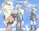 1girl 2boys arcanine black_coat black_footwear blue_oak blush boots clenched_teeth coat commentary_request donnpati fur-trimmed_coat fur_trim gen_1_pokemon green_(pokemon) green_jacket hand_in_pocket hanging jacket jewelry multiple_boys necklace open_clothes open_jacket pants pidgeot pokemon pokemon_(creature) pokemon_(game) pokemon_rgby purple_shirt red_(pokemon) scarf shirt snow_sculpture spiky_hair standing teeth v yellow_scarf