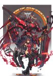 1girl absurdres armpit_peek breasts brown_hair covered_navel floating_hair halo highres holding holding_sword holding_weapon horns long_hair looking_at_viewer mecha mecha_musume original red_eyes redrawn science_fiction single_horn small_breasts sword syaha visor weapon