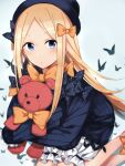 1girl abigail_williams_(fate) bangs black_bow black_headwear blonde_hair blue_eyes bow bug butterfly fate/grand_order fate_(series) floating_hair hair_bow hat highres holding holding_stuffed_toy insect long_hair long_sleeves looking_at_viewer multiple_hair_bows orange_bow parted_bangs parted_lips polka_dot polka_dot_bow shorts sleeves_past_fingers sleeves_past_wrists solo stuffed_animal stuffed_toy suzumo70 teddy_bear very_long_hair white_shorts