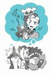 1boy black_hair closed_mouth commentary_request eyeshadow frown galarian_form galarian_zigzagoon gen_8_pokemon green_eyes gym_leader half-closed_eyes holding holding_pokemon jacket looking_at_viewer makeup male_focus multicolored_hair nata_(mmgt_nn) obstagoon piers_(pokemon) pokemon pokemon_(creature) pokemon_(game) pokemon_swsh spot_color thought_bubble toxel toxtricity two-tone_hair white_jacket younger