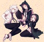 1girl 2boys animal_bag animal_hood backpack bag black_jacket black_pants blush brown_skirt cat_bag cat_hood chain coat collared_shirt commentary_request cosplay danganronpa_(series) danganronpa_2:_goodbye_despair dress_shirt frown green_coat grey_hair gwanlamcha hands_up highres hinata_hajime hinata_hajime_(cosplay) hood hoodie jacket komaeda_nagito komaeda_nagito_(cosplay) messy_hair multiple_boys nanami_chiaki nanami_chiaki_(cosplay) neck_ribbon necktie open_clothes open_coat open_jacket pants parted_lips pink_bag pink_eyes pink_footwear pink_ribbon ribbon school_uniform shirt shoes short_hair short_sleeves skirt smile sneakers sweatdrop thigh-highs white_hair white_shirt