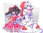 2girls absurdres autobot backpack bag bangs black_hair bow breasts decepticon dress floating_hair fur_trim genderswap genderswap_(mtf) hair_bow hat headphones highres jetfire kyarara_renan looking_at_viewer medium_breasts multiple_girls personification pink_bow red_dress sailor_collar short_hair starscream symbol_commentary transformers twintails v-shaped_eyebrows white_dress white_hair white_headwear